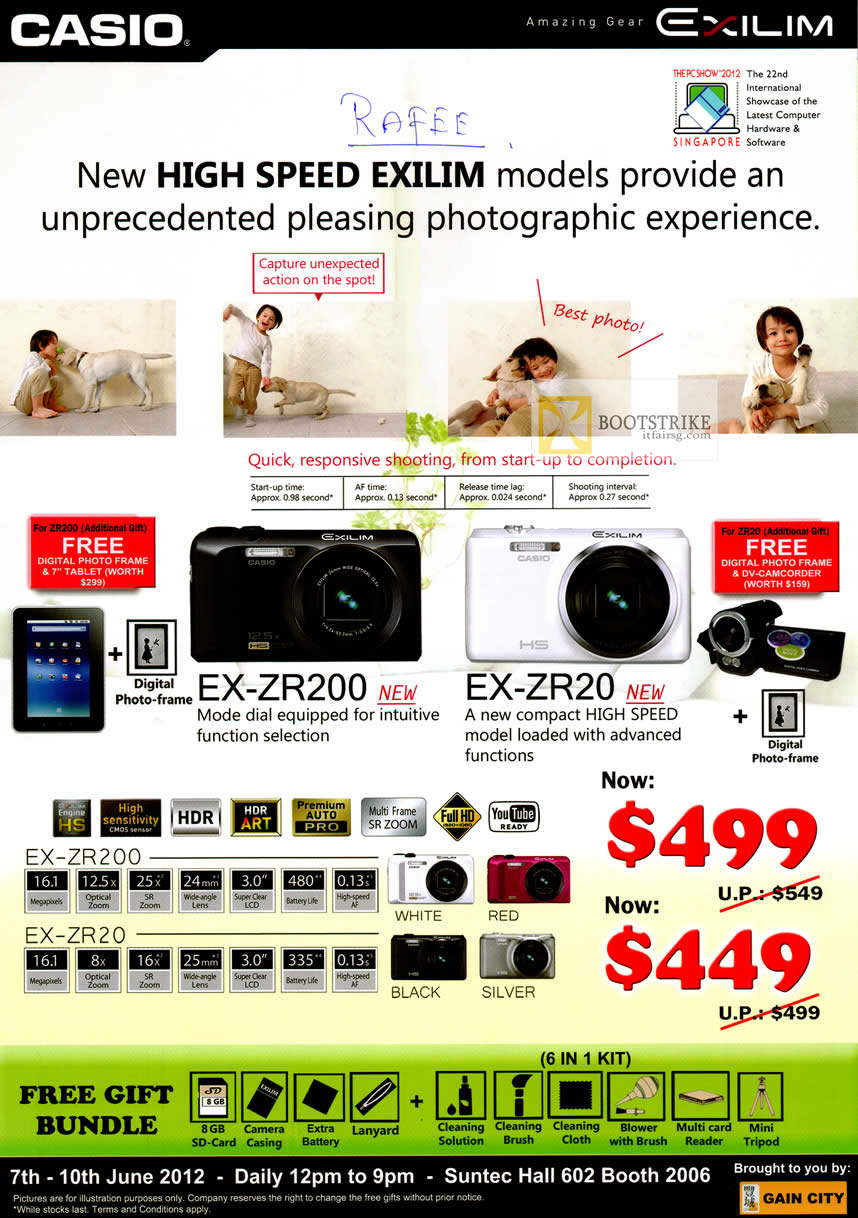PC SHOW 2012 price list image brochure of Casio Digital Cameras EX-ZR200, EX-ZR20
