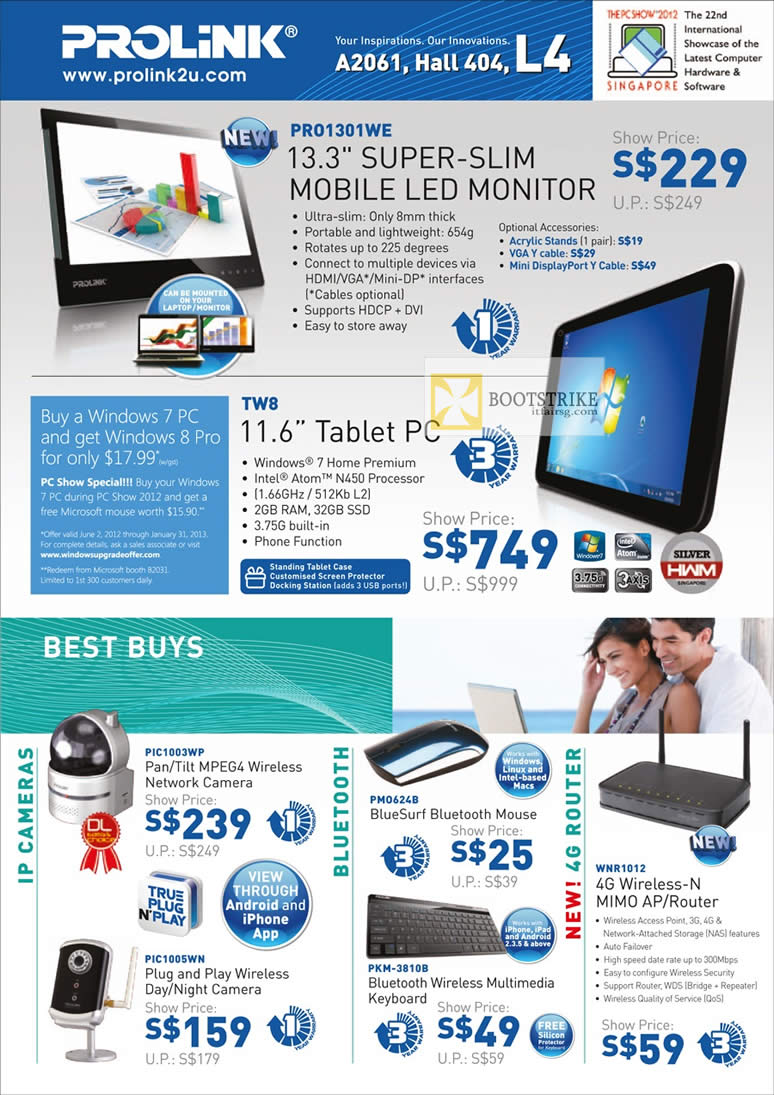 PC SHOW 2012 price list image brochure of Cybermind Prolink Pro1301WE Mobile LED Monitor, TW8 Tablet PC, IP Cam PIC1003WP, Keyboard, Mouse, PIC1005WN, WNR1012 Wireless N Router