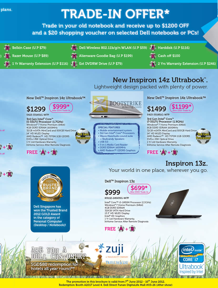 PC SHOW 2012 price list image brochure of Dell Notebooks Inspiron 14z Ultrabook, Inspiron 13z Notebook, Trade In
