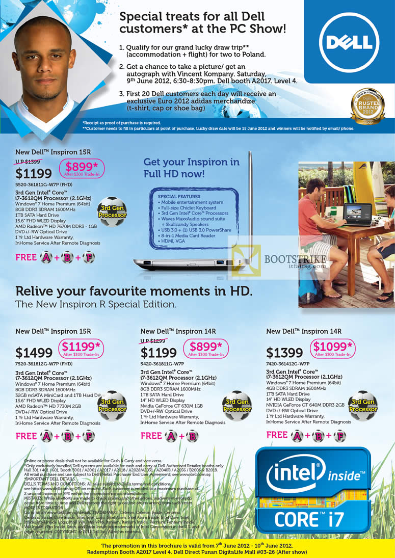 PC SHOW 2012 price list image brochure of Dell Notebooks Inspiron 15R, Inspiron 14R, Vincent Kompany