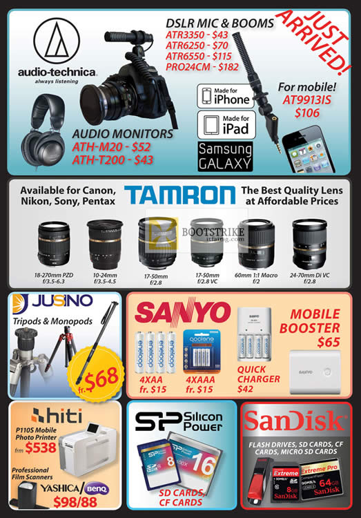 PC SHOW 2012 price list image brochure of Eastgear Red Dot Audio Technica AT9113IS, ATH-M20, ATH-T200, Tamron, Sanyo Battery, Jusino, Hiti P100S Printer, Film Scanner, Silicon Power