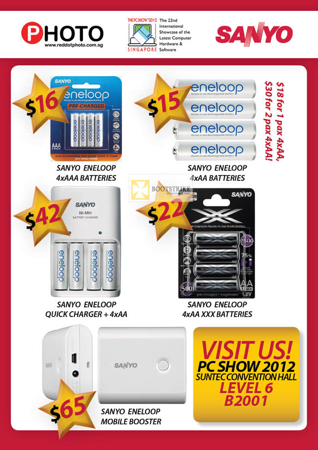 PC SHOW 2012 price list image brochure of Eastgear Red Dot Sanyo Eneloop Battery, Quick Charger, Mobile Booster