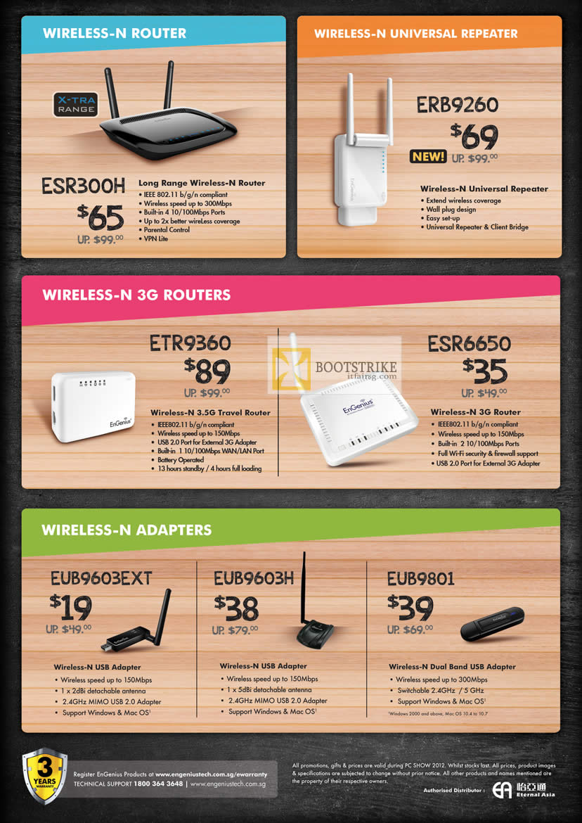 PC SHOW 2012 price list image brochure of Engenius Networking Wireless Router ESR300H, Repeater ERB9260, 3G Routers ETR9360, ESR6650, USB Adapter EUB9603EXT, EUB9603H, EUB9801