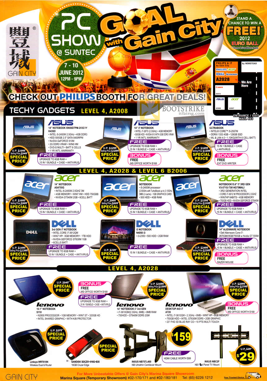 PC SHOW 2012 price list image brochure of Gain City Notebooks ASUS, Acer, Dell, Lenovo, Inxus Flat Panel TV Mount