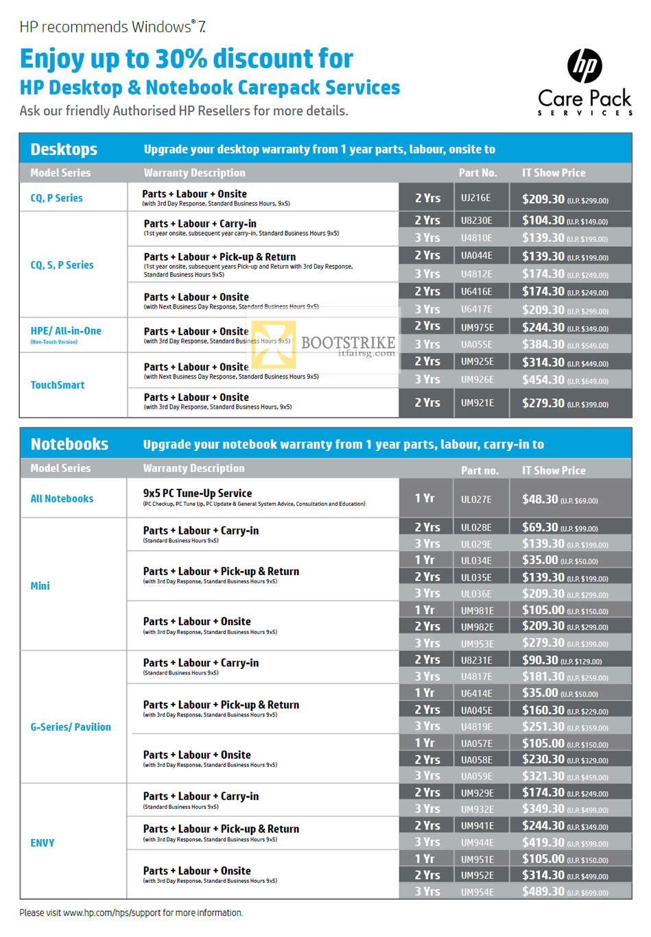 HP Desktop PC Notebooks Warranty Upgrade Options PC SHOW ...