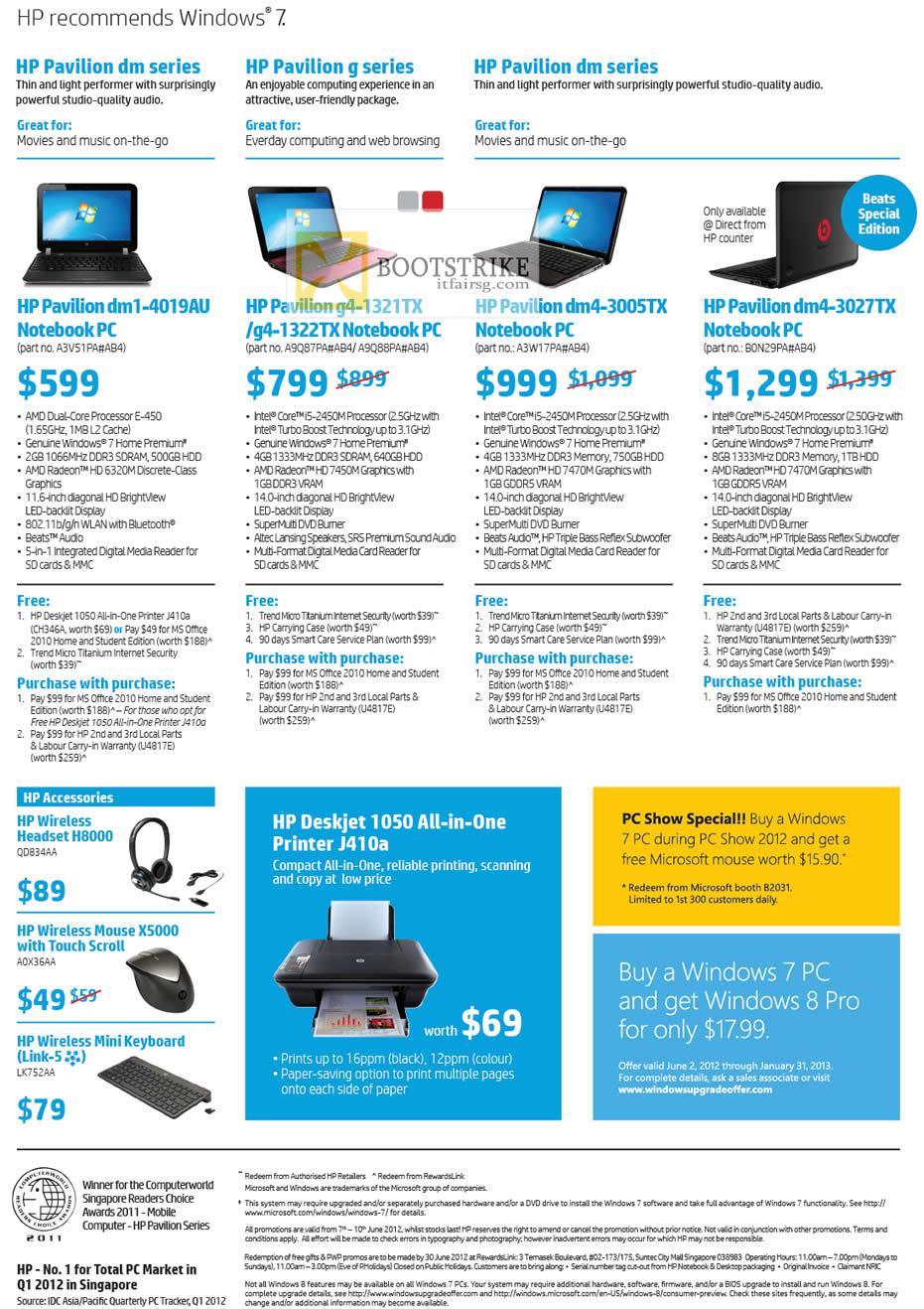 PC SHOW 2012 price list image brochure of HP Notebooks Pavilion Dm1-4019au, G4-1321tx, G4-1322tx, Dm4-3005tx, Dm4-3027tx, Headset H8000, Mouse X5000