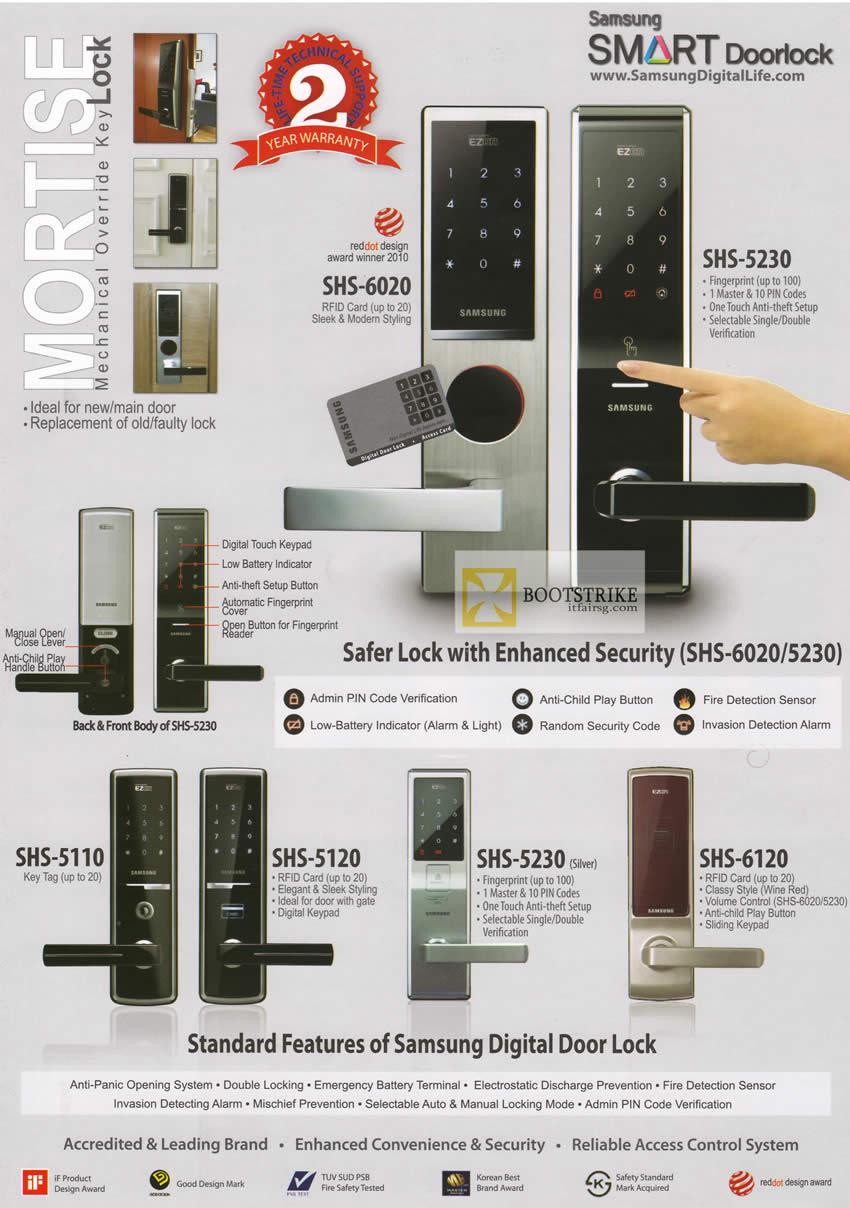 PC SHOW 2012 price list image brochure of Hanman Mortise Mechanical Override Key Lock, Samsung Smart Doorlock