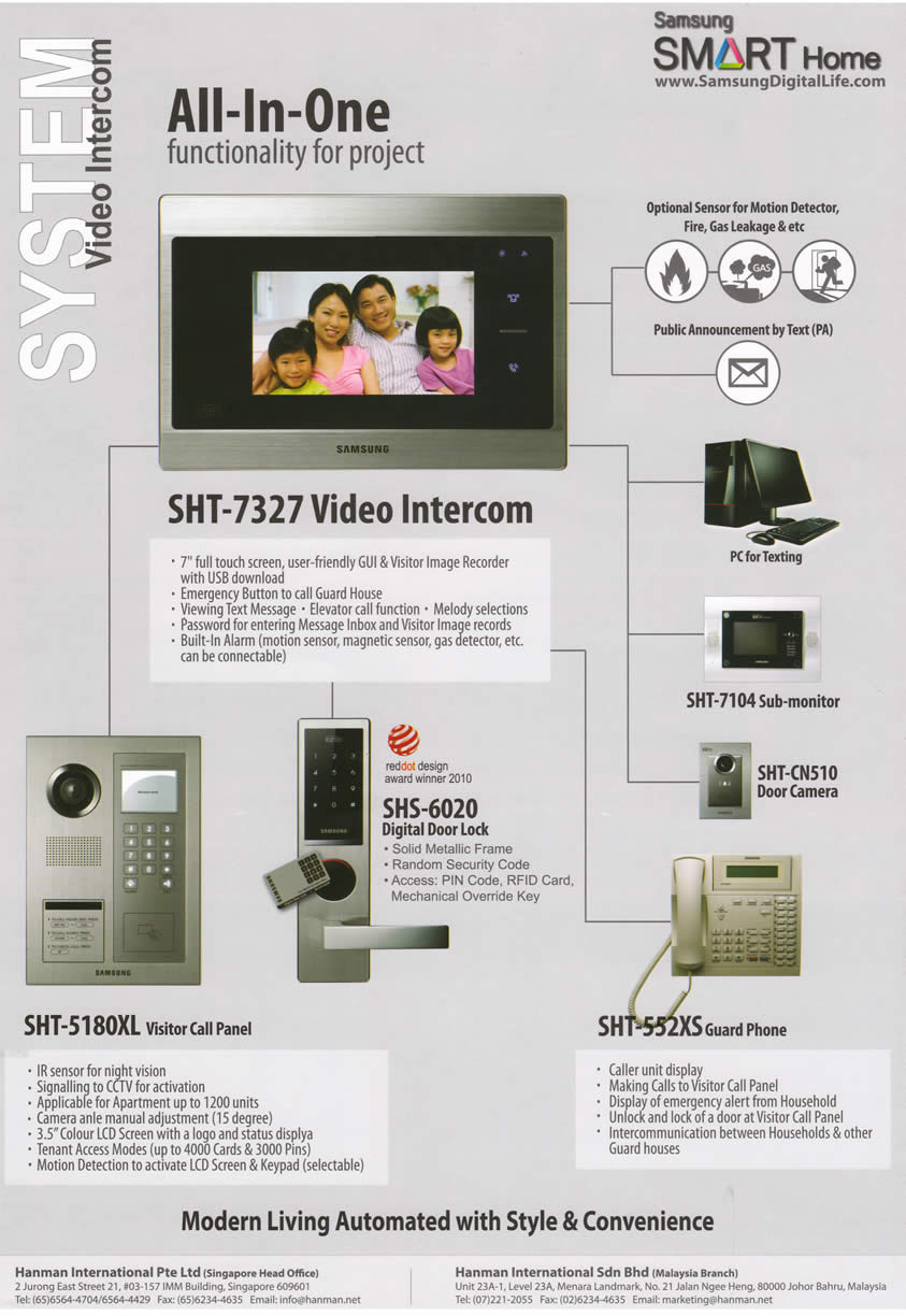 PC SHOW 2012 price list image brochure of Hanman Video Intercom SHT-7327 Samsung Smart Home