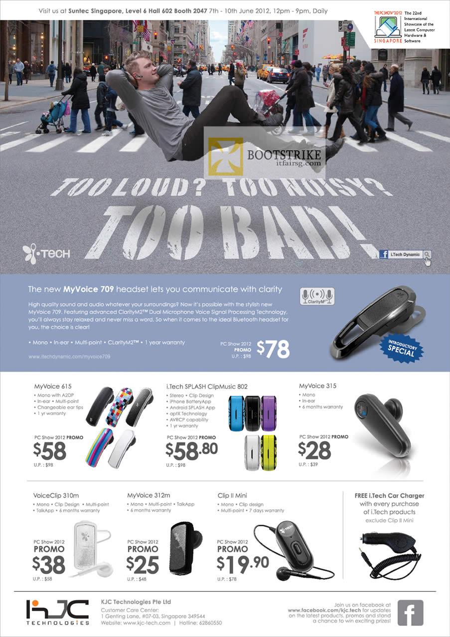 PC SHOW 2012 price list image brochure of KJC ITech Bluetooth Headset MyVoice 615, 312m, Splash ClipMusic 802, MyVoice 315, 312m, VoiceClip 310m, Clip II Mini