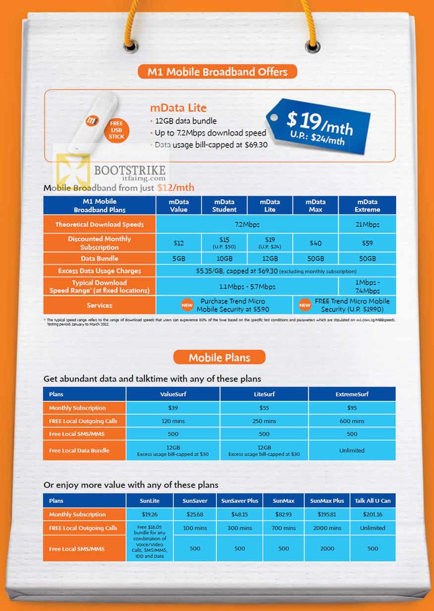 PC SHOW 2012 price list image brochure of M1 Broadband Mobile MData Lite, Value, Student, Lite, Max, Extreme, Mobile Plans ValueSurf, LiteSurf, Extreme Surf, SunLite