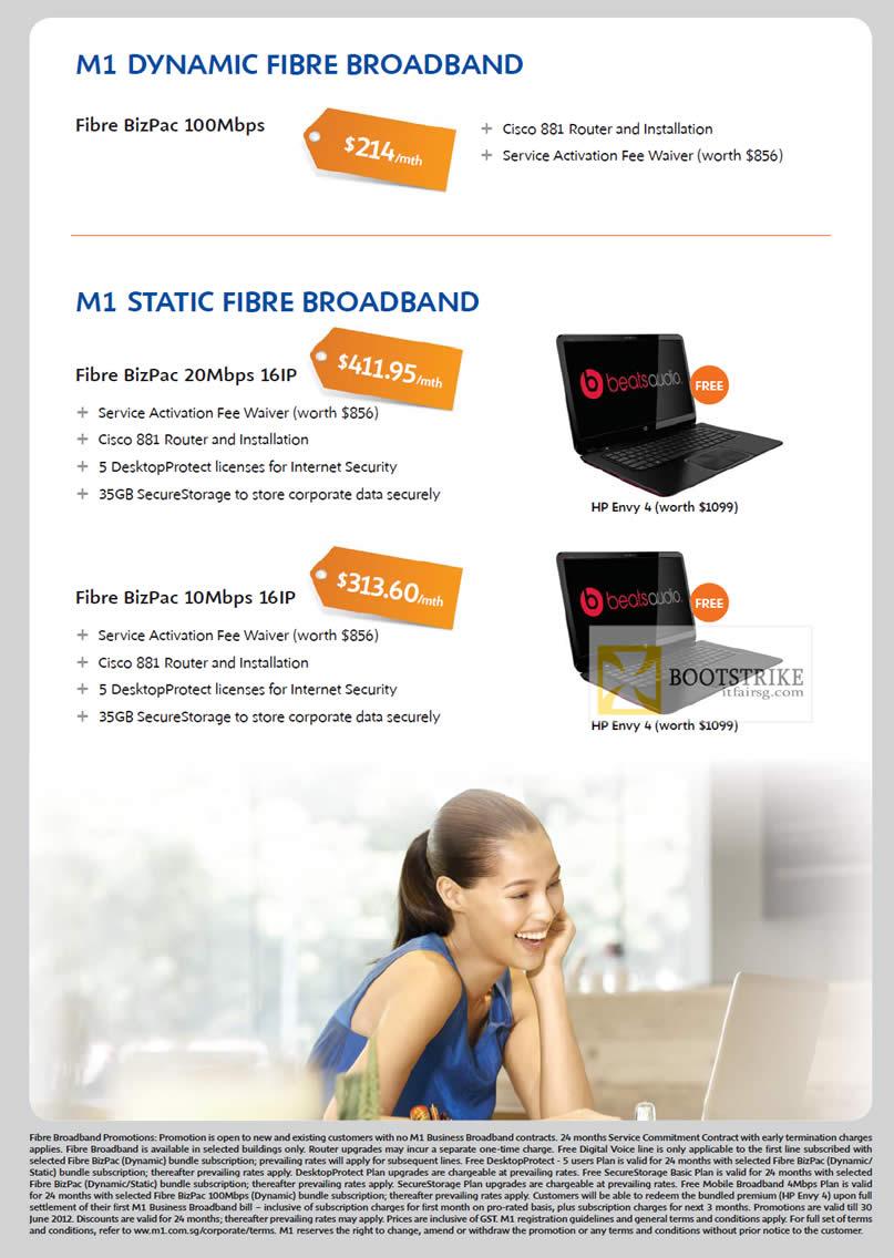 PC SHOW 2012 price list image brochure of M1 Business Dynamic Fibre Broadband, Static Fibre Broadband BizPac