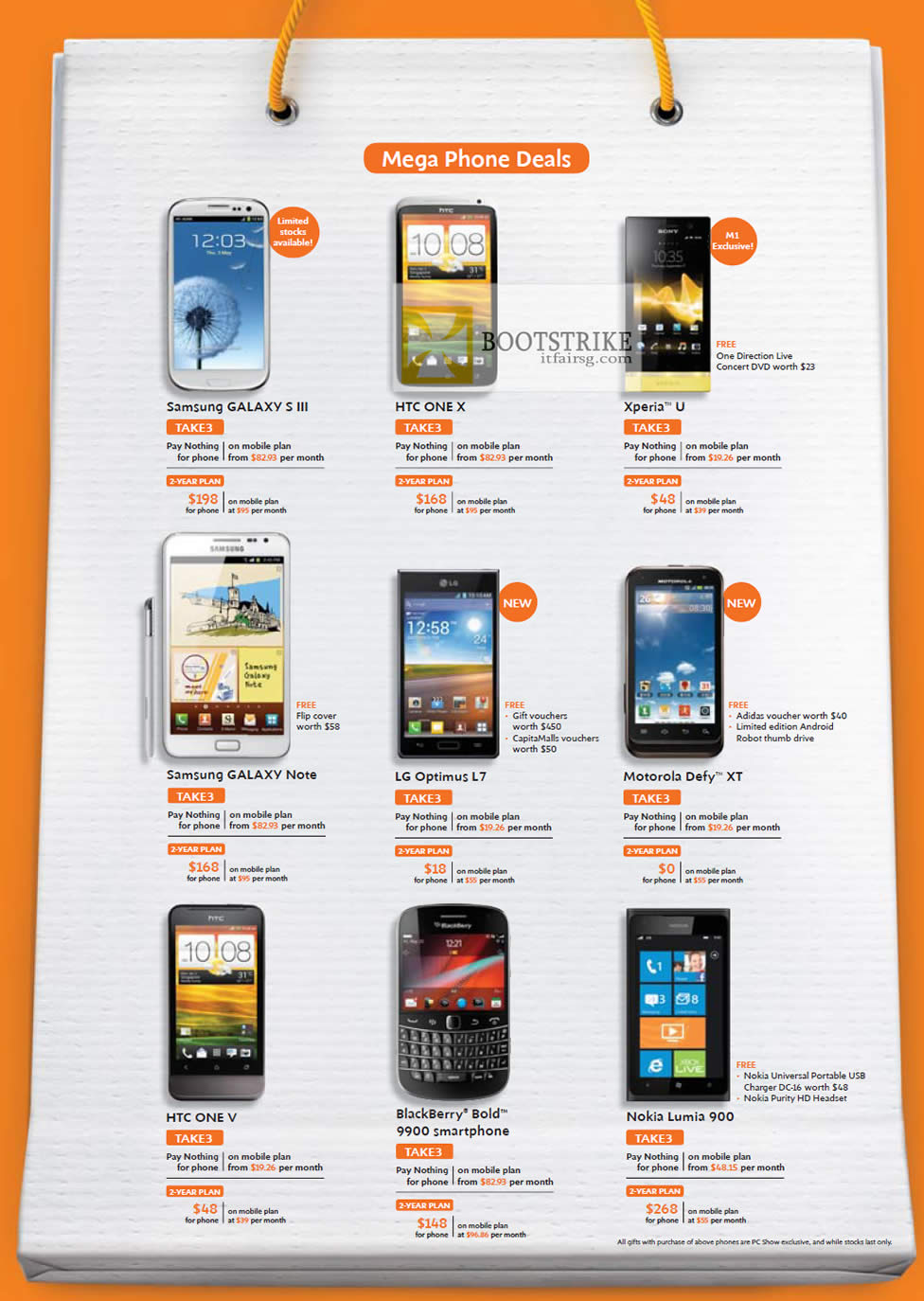 PC SHOW 2012 price list image brochure of M1 Mobile Samsung Galaxy S III, Note, HTC One X, V, Sony Xperia U, LG Optimus L7, Defy XT, Blackberry Bold 9900, Nokia Lumia 900