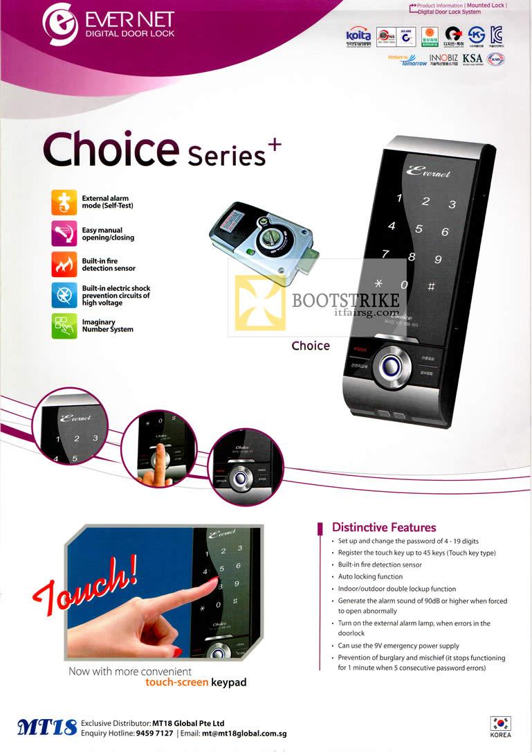 PC SHOW 2012 price list image brochure of MT18 Global Evernet Digital Door Lock Choice Series Features