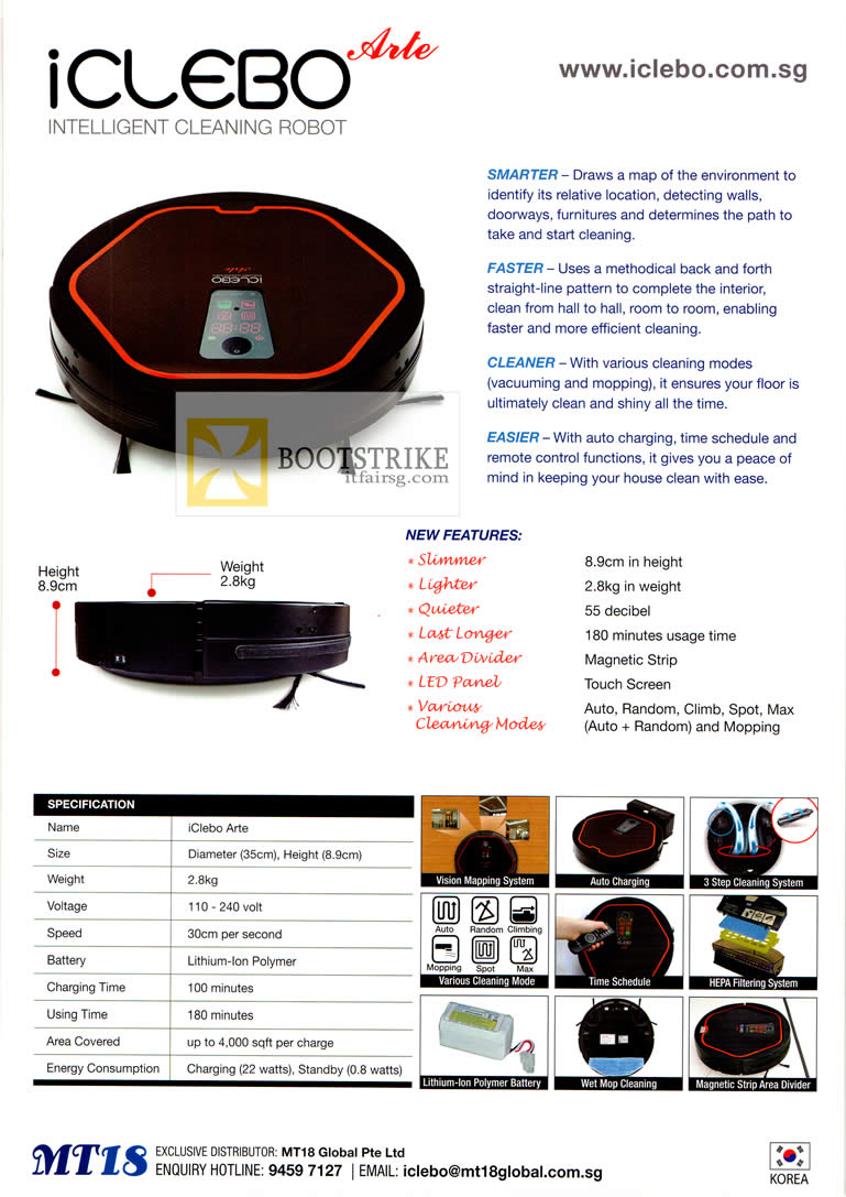 PC SHOW 2012 price list image brochure of MT18 Global IClebo Arte Cleaning Robot Specifications