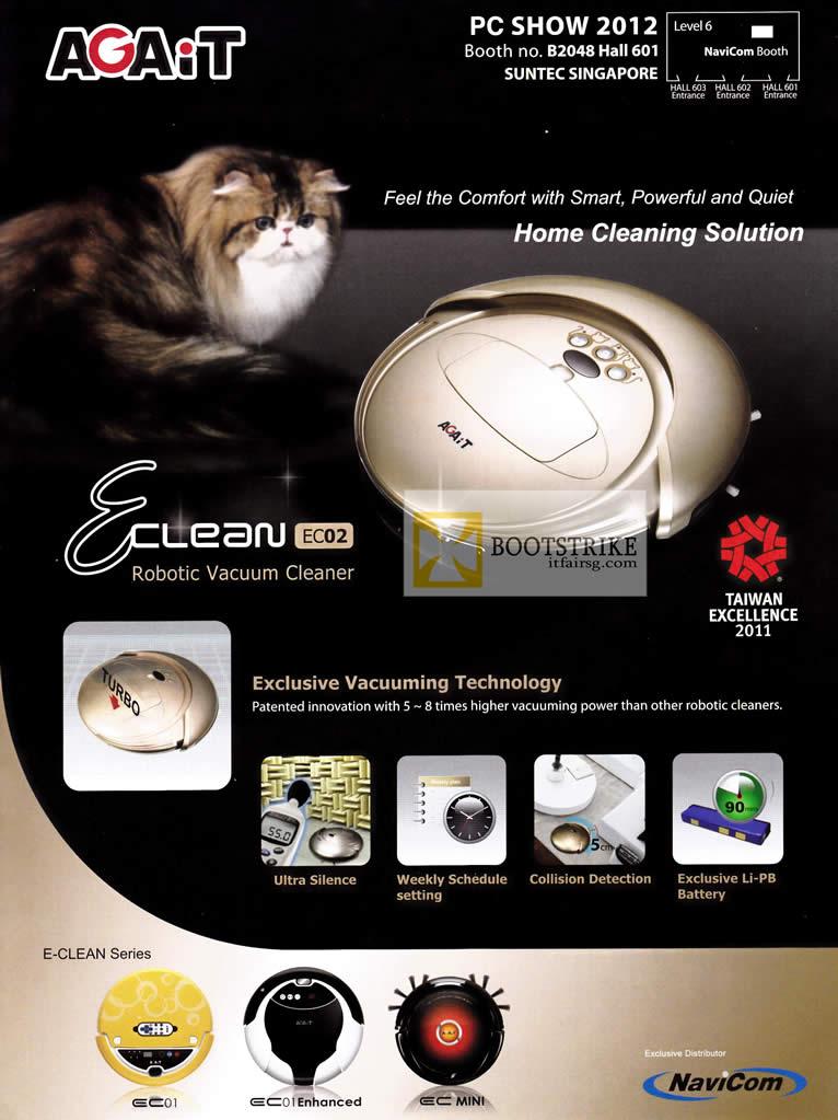 PC SHOW 2012 price list image brochure of Navicom Agait E-Clean Robotic Vacuum Cleaner EC02 Features