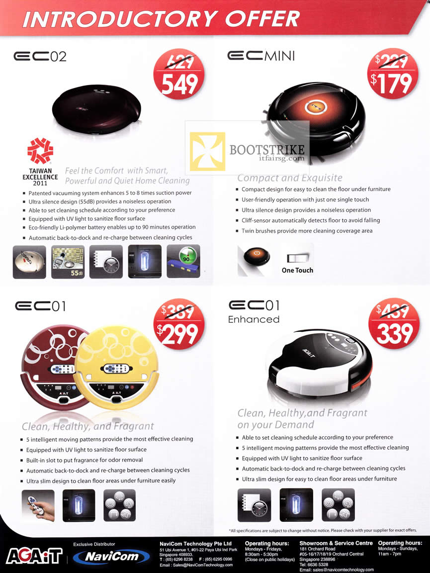 PC SHOW 2012 price list image brochure of Navicom Agait E-Clean Robotic Vacuum Cleaner EC02, EC01, EC Mini, EC01 Enhanced