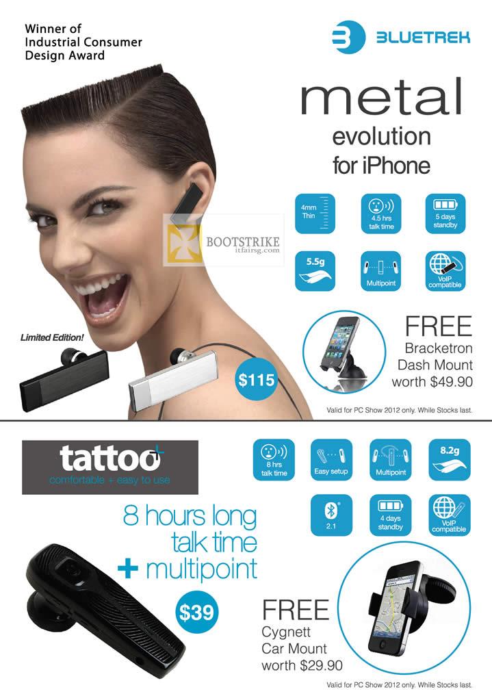 PC SHOW 2012 price list image brochure of Newstead Bluetrek Metal Bluetooth Headset, Tattoo