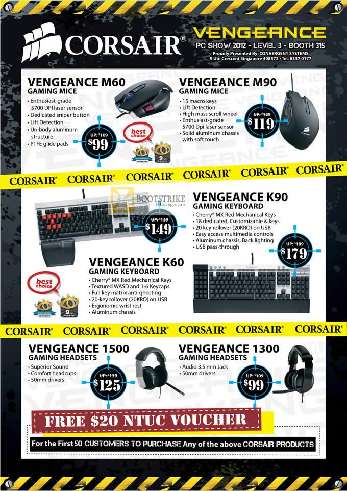 PC SHOW 2012 price list image brochure of Newstead Convergent Corsair Vengenance Mouse M60, M90, K60 Keyboard, K90, 1500 Headset, 1300