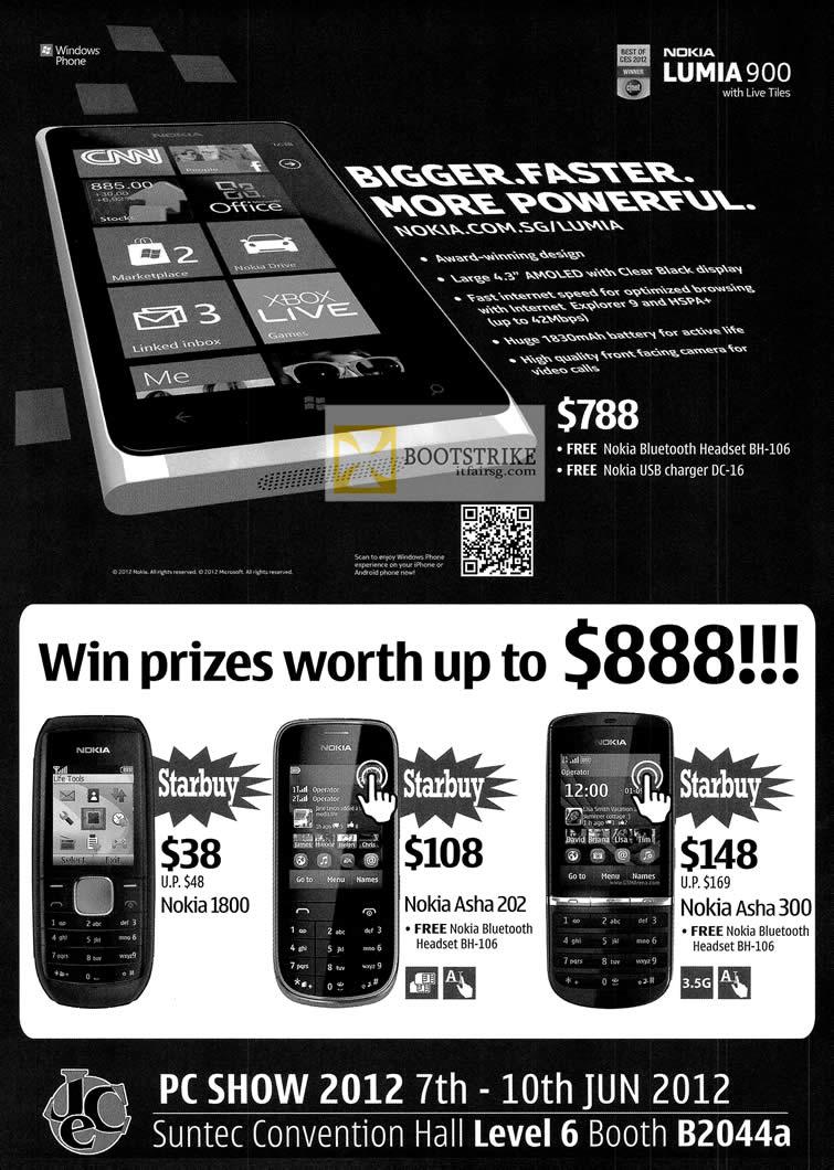 PC SHOW 2012 price list image brochure of Nokia Lumia 900 Smartphone, Nokia 1800, Nokia Asha 202, Asha 300