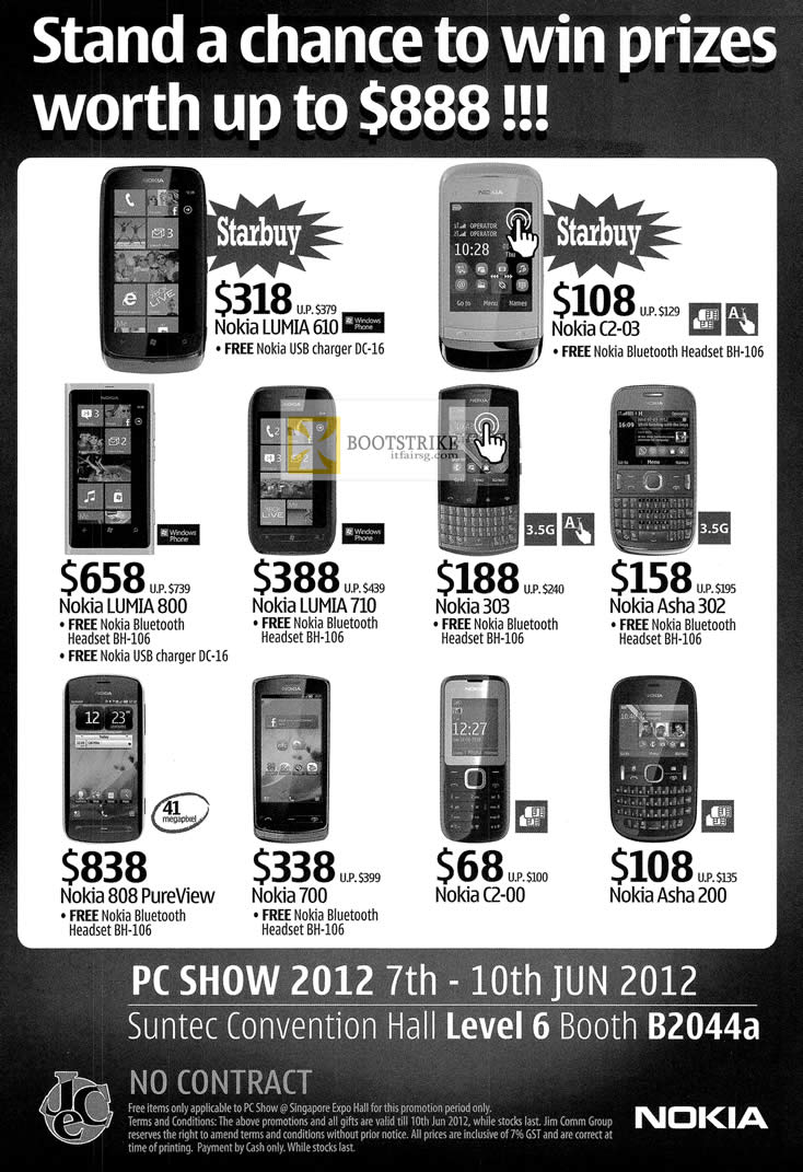 PC SHOW 2012 price list image brochure of Nokia Phones Lumia 610, 800, 710, C2-03, 303, Asha 302, 808 PureView, 700, C2-00, Asha 200
