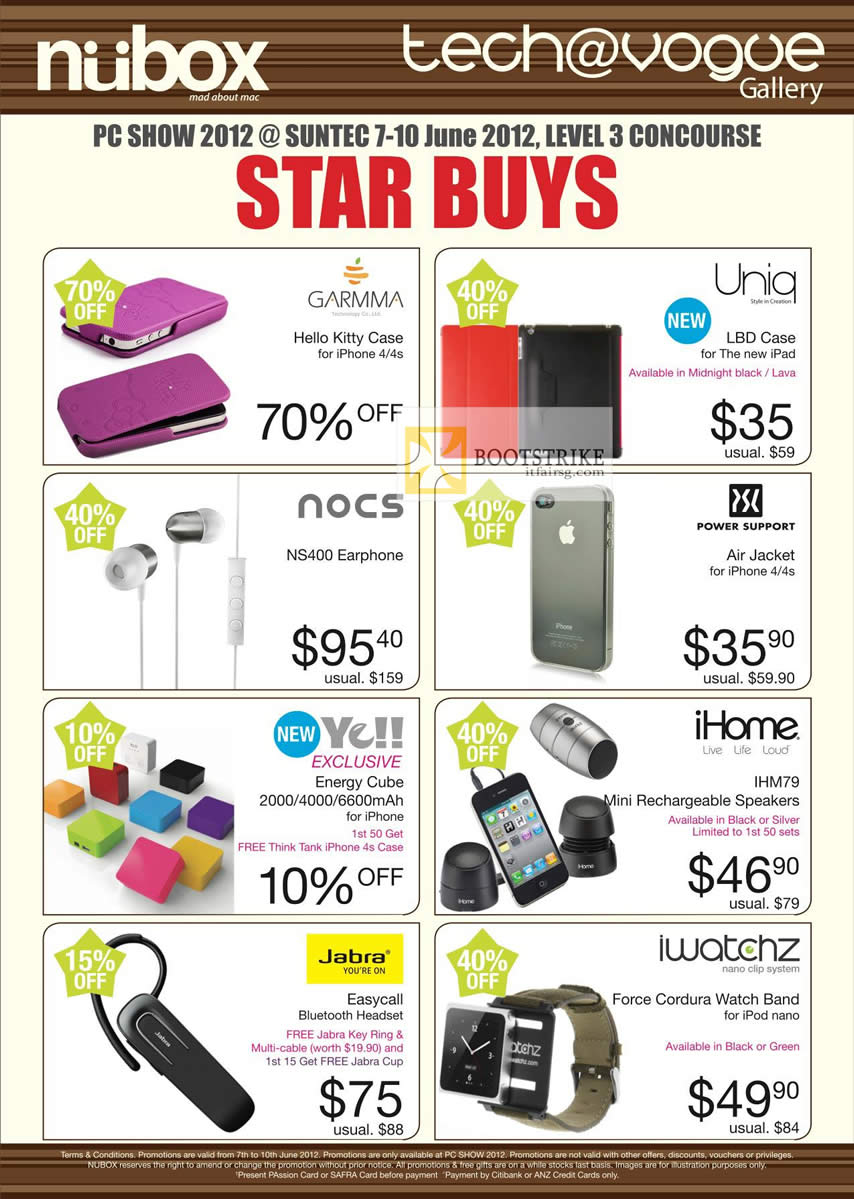 PC SHOW 2012 price list image brochure of Nubox Accessories Uniq LBD Case, Nocs NS400 Earphone, Power Support Air Jacket, IHome IHM79 Speakers, Jabra Easycall, Iwatchz Force Cordura Watch Band