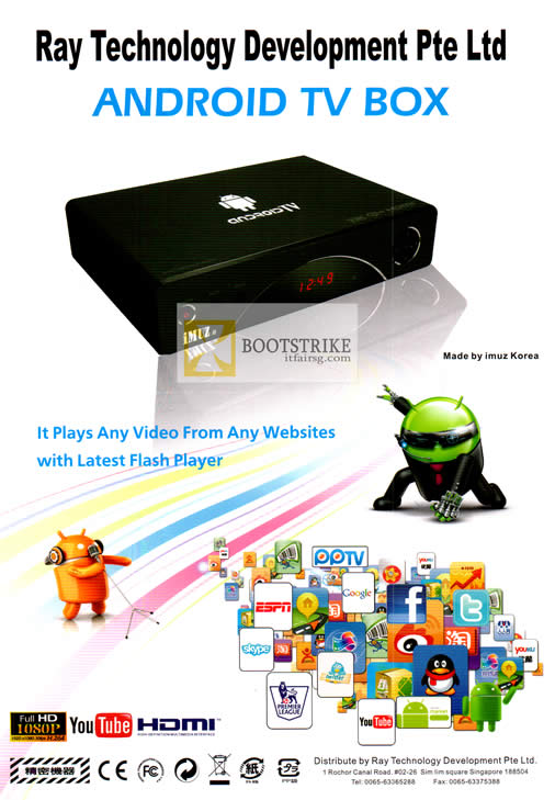 PC SHOW 2012 price list image brochure of Ray Tech Android Ray TV Box Media Player Specifications