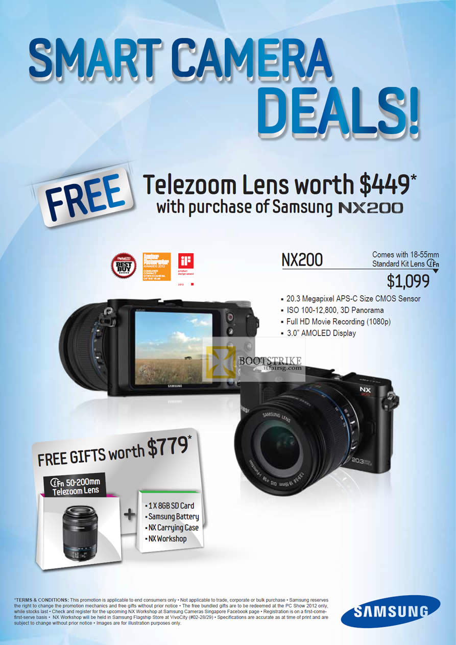 PC SHOW 2012 price list image brochure of Samsung Digital Cameras NX200