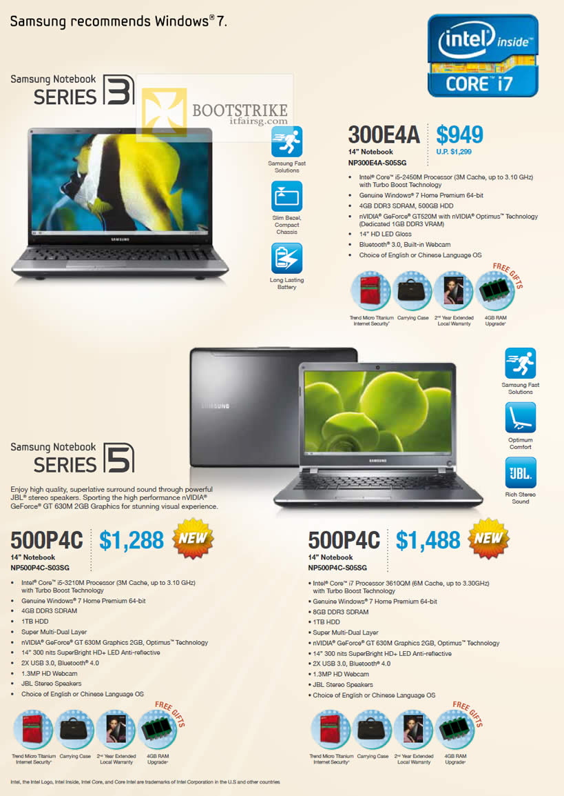 PC SHOW 2012 price list image brochure of Samsung Notebooks Series 3 NP300E4A-S05SG, Series 5 NP500P4C-S03SG S05SG