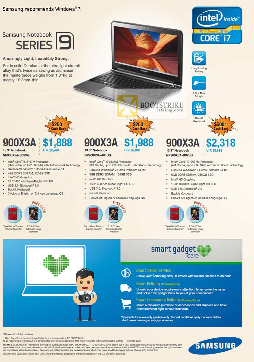 PC SHOW 2012 price list image brochure of Samsung Notebooks Series 9 NP900X3A-B03SG, NP900X3A-A01SG, NP900X3A-B02SG