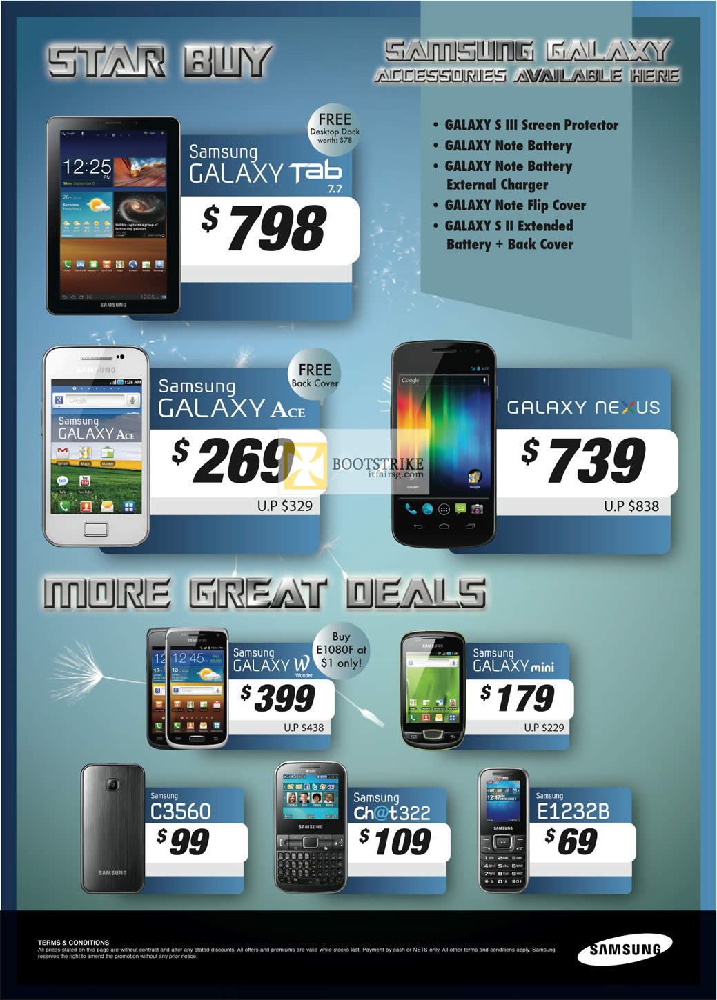 PC SHOW 2012 price list image brochure of Samsung Smartphones Galaxy Tab 7.7, Galaxy Ace, Galaxy Nexus, W, Mini, C3560, Chat 322, E1232B