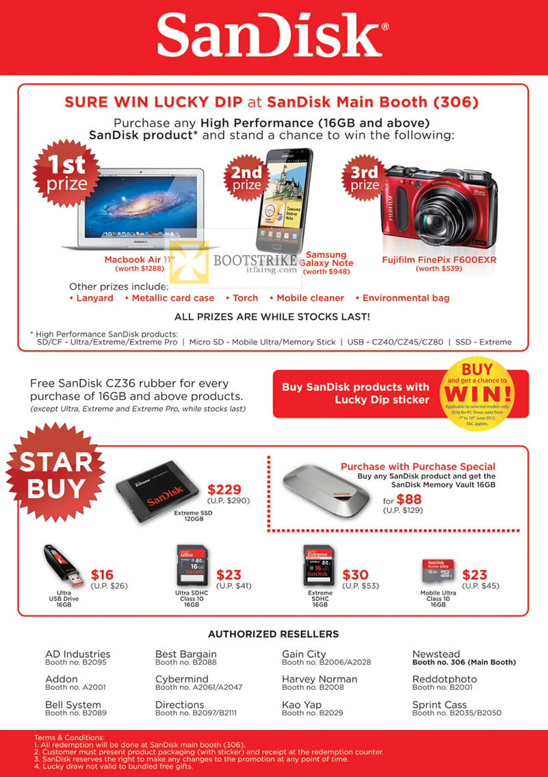 PC SHOW 2012 price list image brochure of Sandisk Sure Win Lucky Dip, Ultra USB Flash Drive, Extreme SSD, Ultra SHDC Memory Card, Extreme SDHC, Mobile Ultra Class 10