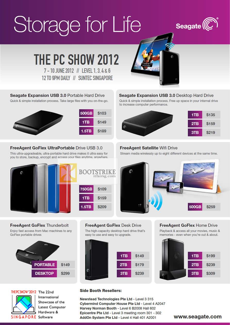 PC SHOW 2012 price list image brochure of Seagate External Storage Expansion USB 3.0, FreeAgent GoFlex UltraPortable, FreeAgent Satellite Wifi Drive, Desk Drive, Home Drive