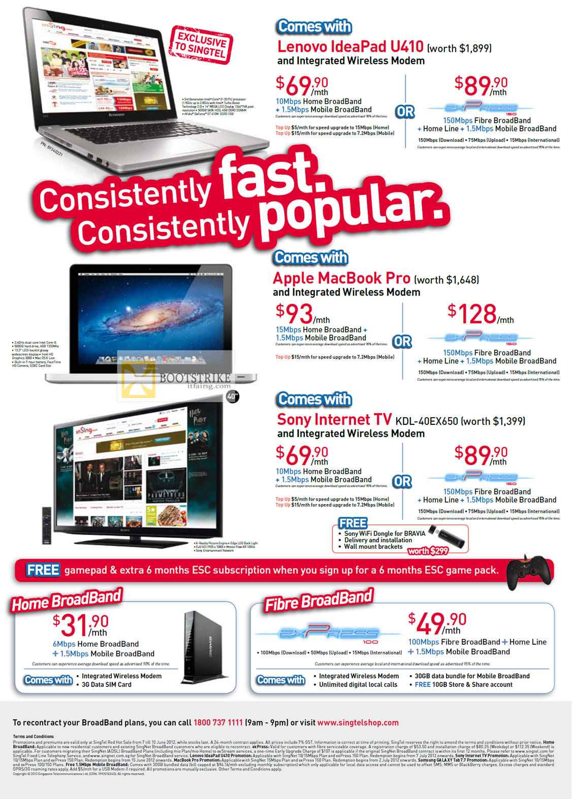PC SHOW 2012 price list image brochure of Singtel Broadband ADSL Free Lenovo IdeaPad U410, Apple Macbook Pro, Sony TV KDL-40EX650, Fibre
