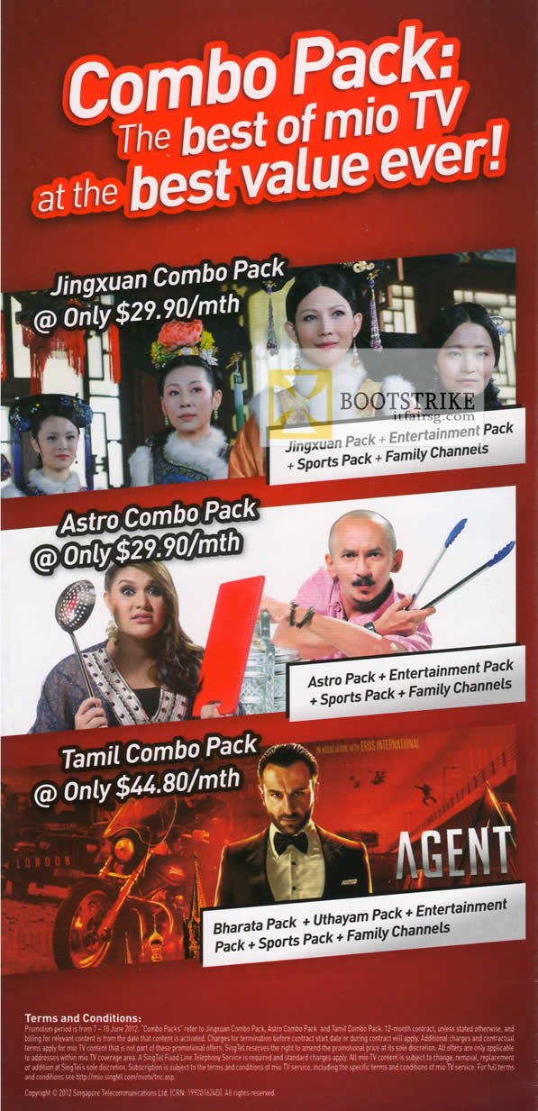PC SHOW 2012 price list image brochure of Singtel Mio TV Combo Packs, Jingxuan Combo Pack, Astro, Tamil Combo Pack