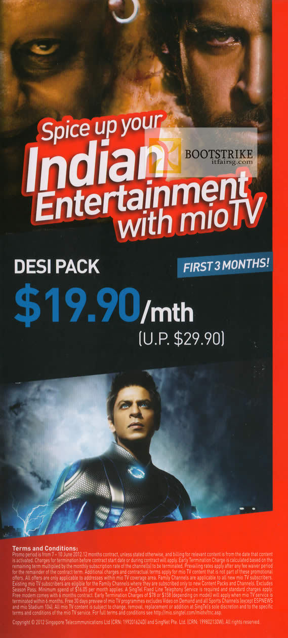 PC SHOW 2012 price list image brochure of Singtel Mio TV Desi Pack