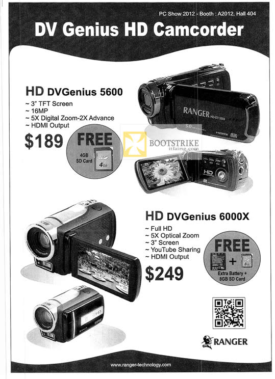 PC SHOW 2012 price list image brochure of Systems Tech Ranger HD DVGenius 5600, 6000X Video Camcorder
