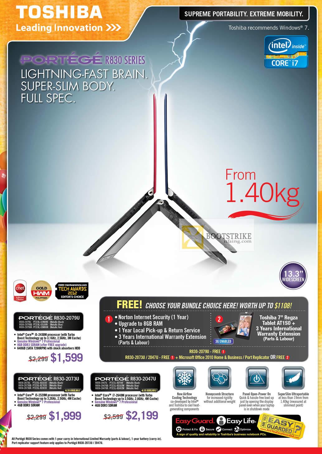 PC SHOW 2012 price list image brochure of Toshiba Notebooks Portege R830-2079U, R830-2073U, R830-2047U