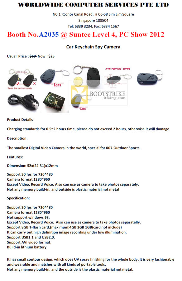 PC SHOW 2012 price list image brochure of Worldwide Computer Car Keychain Spy Camera