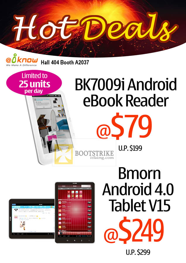 PC SHOW 2012 price list image brochure of Iknow BK7009i Android EBook Reader, Bmorn Android 4 Tablet V15