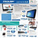 Prolink Pro1301WE Mobile LED Monitor, TW8 Tablet PC, IP Cam PIC1003WP, Keyboard, Mouse, PIC1005WN, WNR1012 Wireless N Router