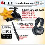 Red Dot DSLR Mic Booms ATR3350, ATR6350, ATR6550, PRO24CM, Audio Monitor ATH-M20, ATH-T200, AT9113IS