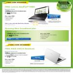 Broadband Fibre Free Lenovo IdeaPad Z480 100Mbps MaxInfinity Ultimate, Cable Free ASUS X401A Notebook MaxOnline Premium Plus