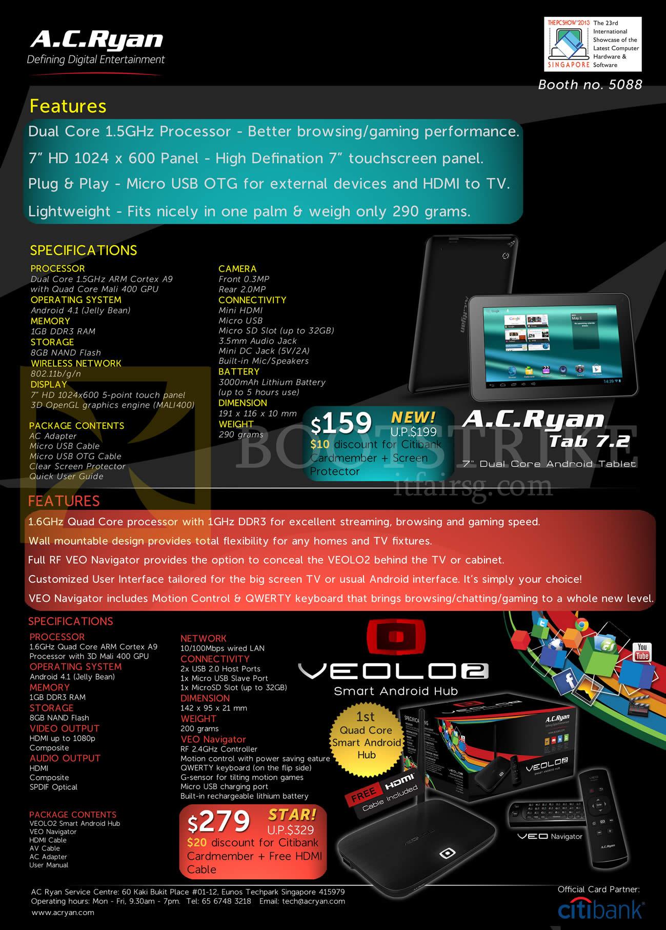 PC SHOW 2013 price list image brochure of AC Ryan Tab 7.2 Tablet, Veolo 2 Smart Android Hub