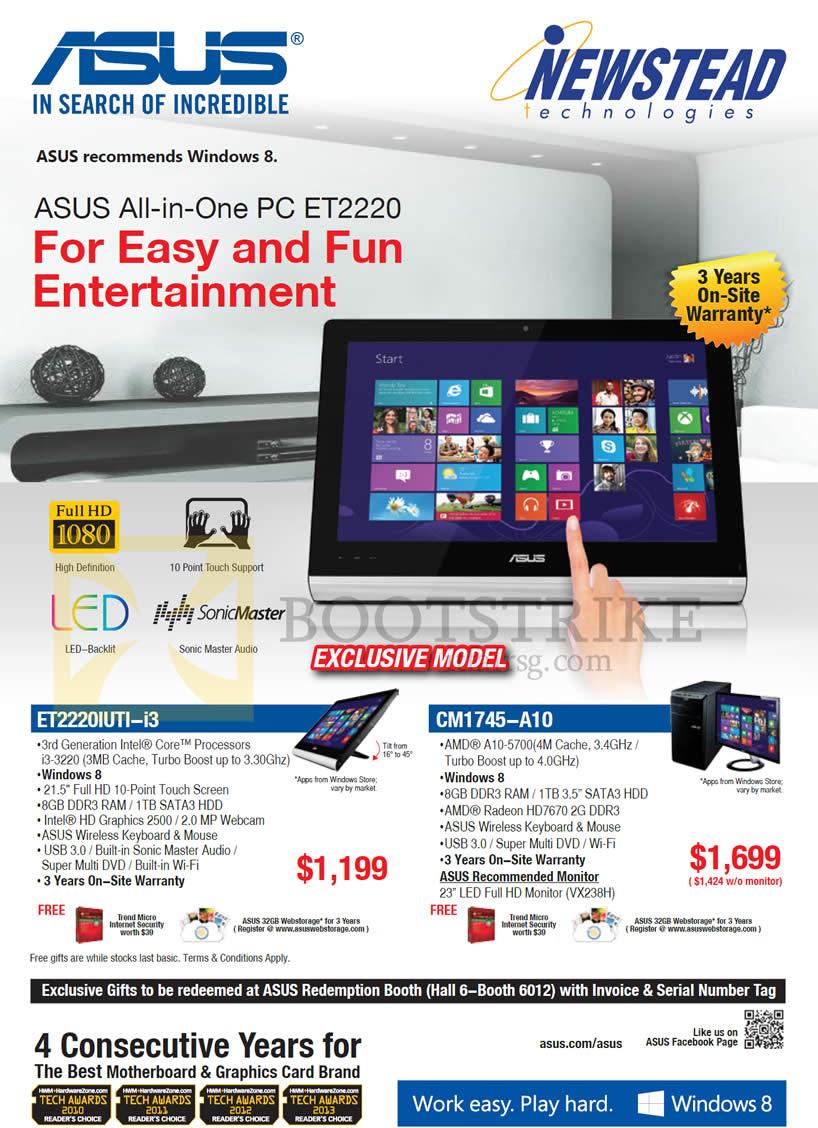 PC SHOW 2013 price list image brochure of ASUS Desktop PCs AIO ET2220IUTI-i3, CM1745-A10
