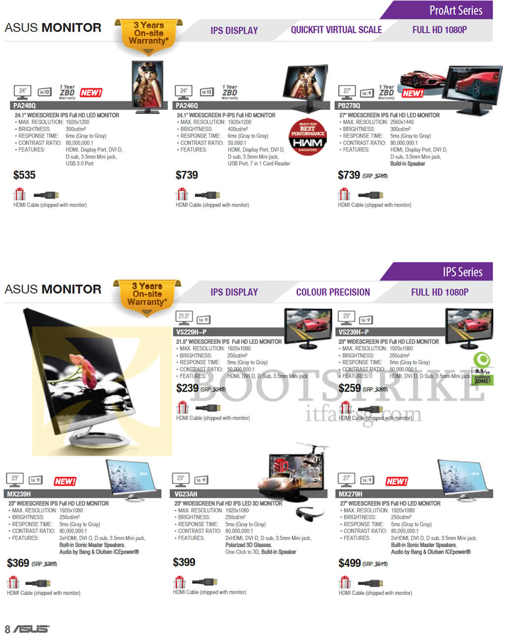 PC SHOW 2013 price list image brochure of ASUS Monitors ProArt PA248Q, PA246Q, PB278Q, IPS VS229H-P, VS-239H-P, MX239H, VG23AH, MX279H