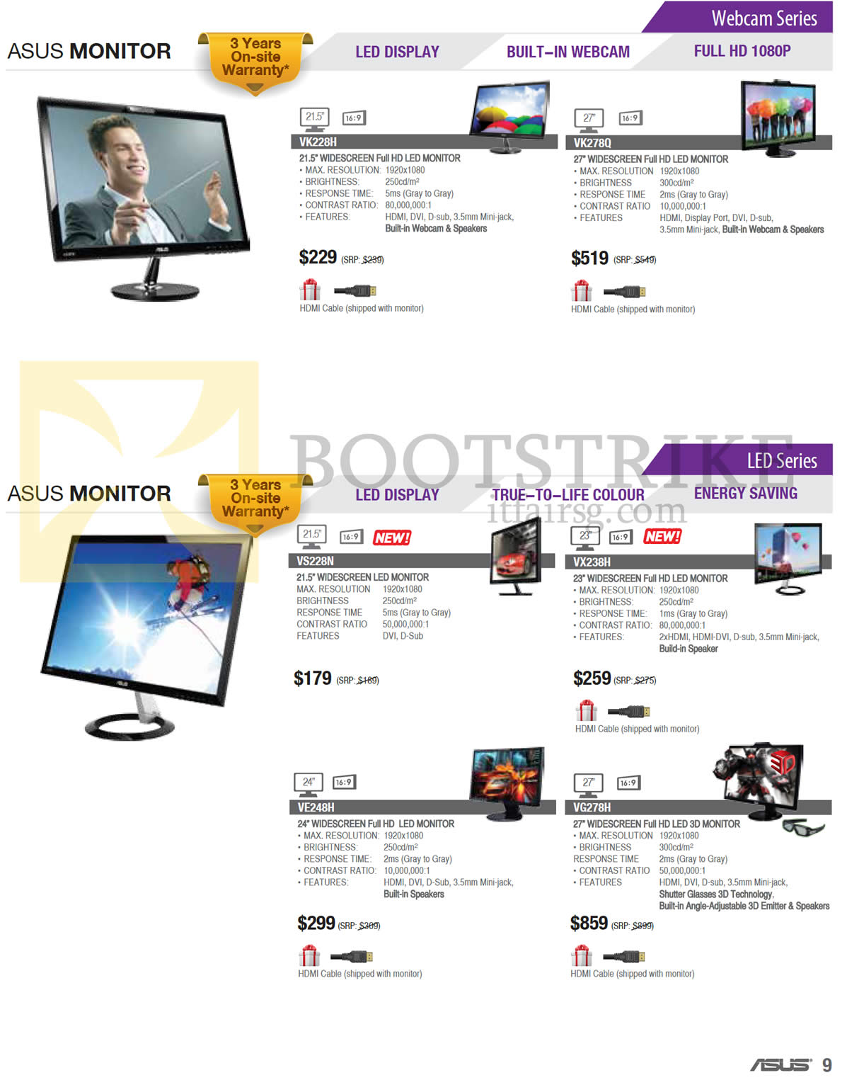 PC SHOW 2013 price list image brochure of ASUS Monitors Webcam VK228H, VK278Q, LED VS228N, VX238H, VE248H, VG278H