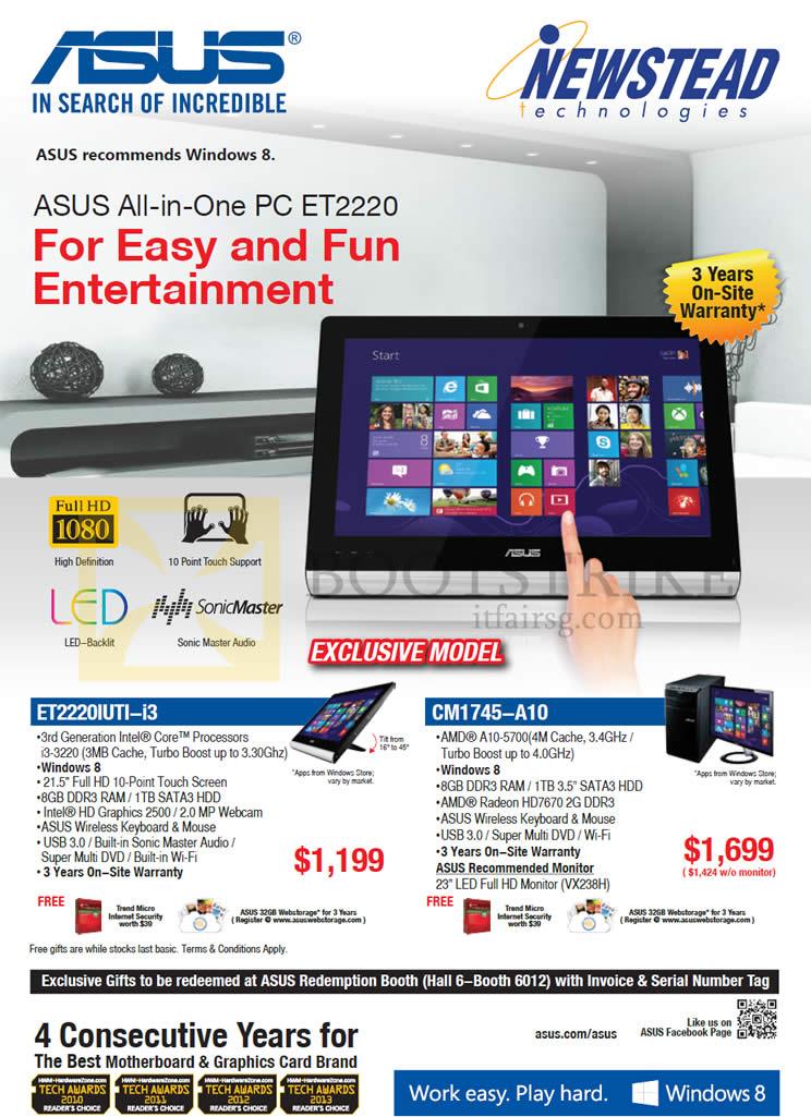 PC SHOW 2013 price list image brochure of ASUS Newstead Desktop PC AIO ET2220IUTI-i3, CM1745-A10