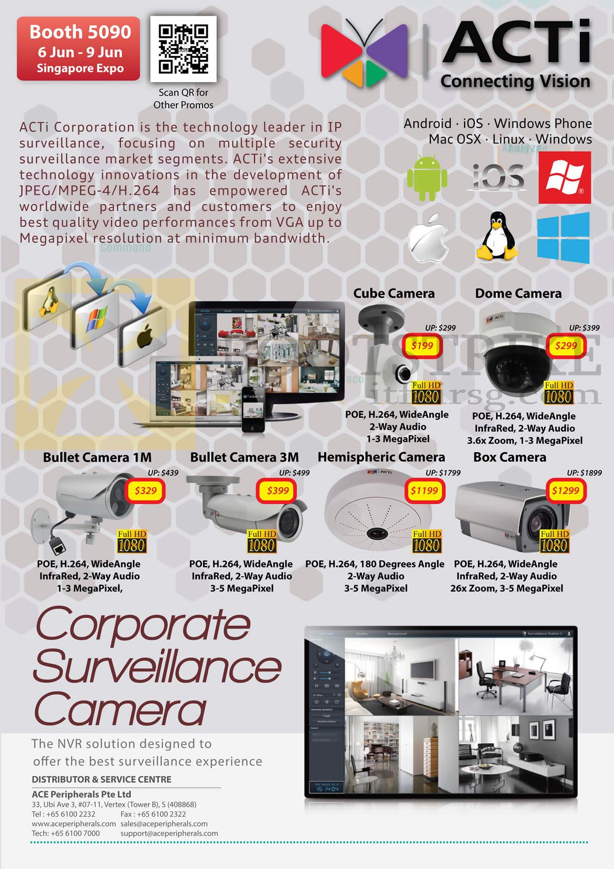 PC SHOW 2013 price list image brochure of Ace Peripherals IPCam Surveillance ACTi Cube Dome Bullet Hemispheric Box SpeedDome