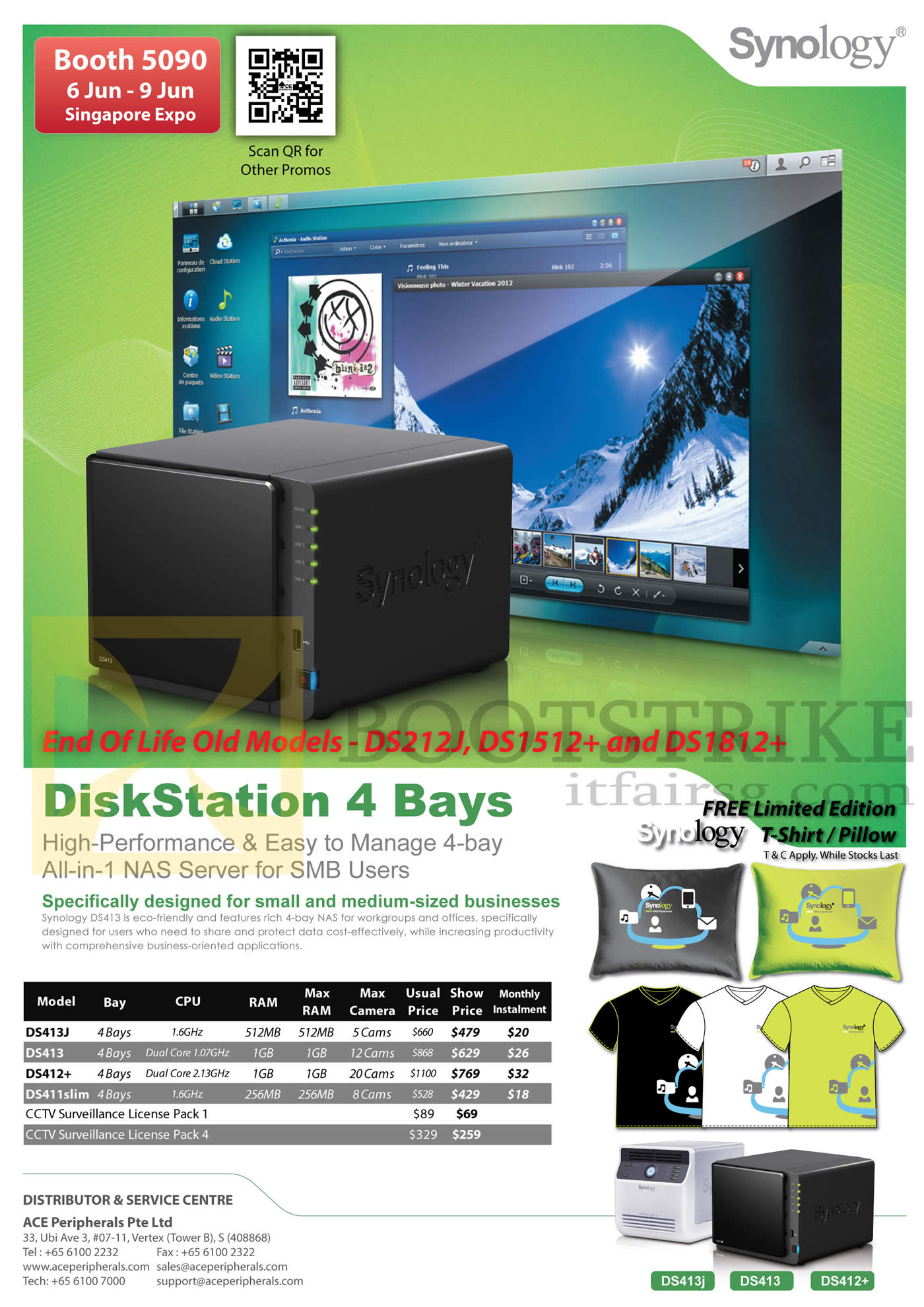 PC SHOW 2013 price list image brochure of Ace Peripherals Synology NAS DiskStation DS413J DS413 DS412 Plus, DS411Slim