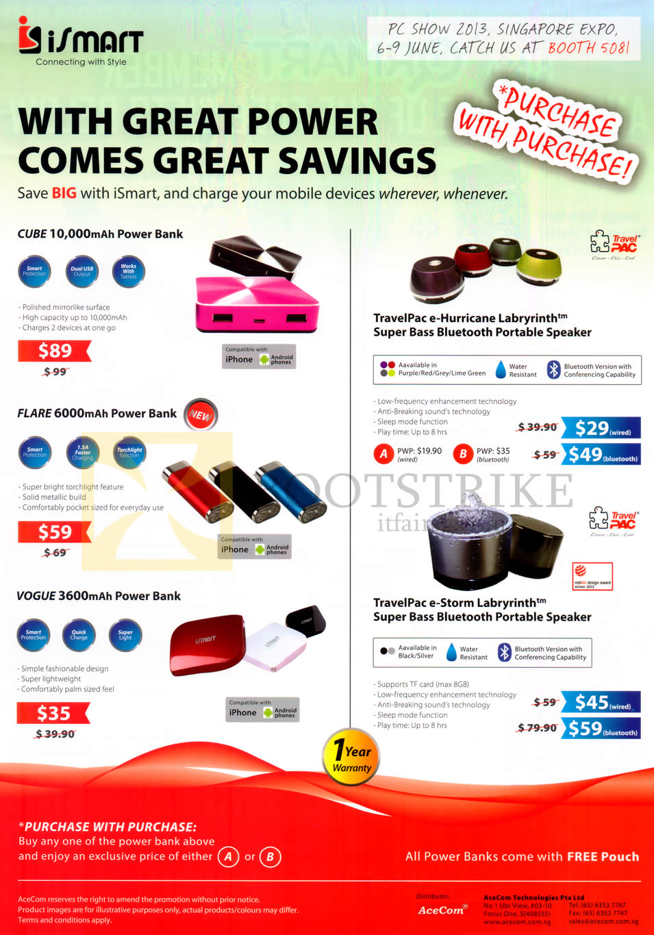 PC SHOW 2013 price list image brochure of AceCom ISmart Portable Chargers Cube, Flare, Vogue, Speakers TravelPac